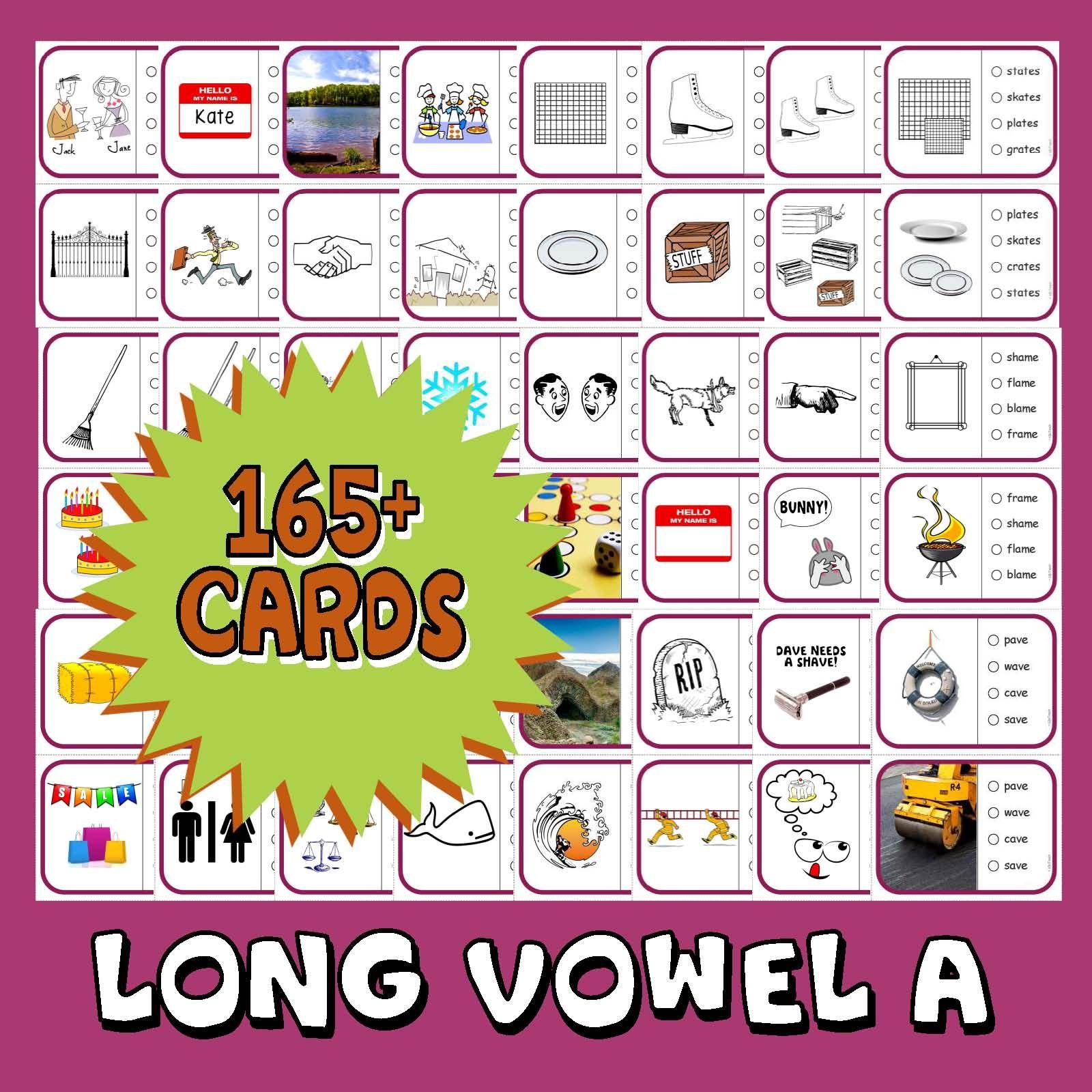 Phonics Multiple Choice Task Cards 165 Long Vowel A