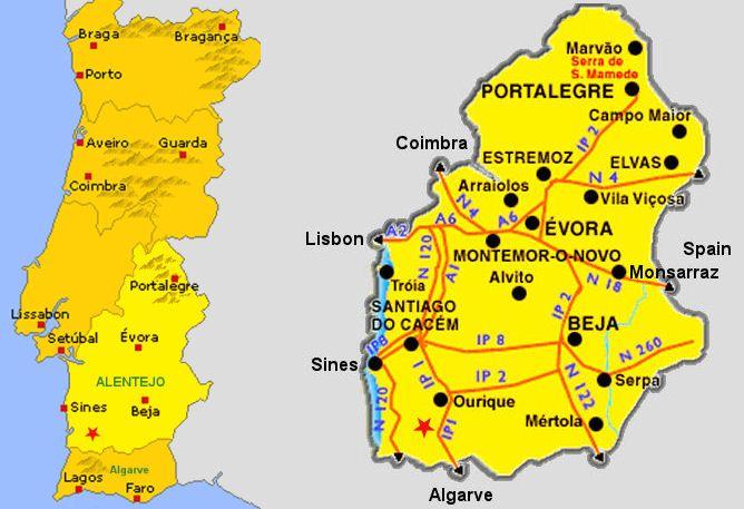 Map Of Alentejo Marvao Alentejo Portugal Travel Hotel