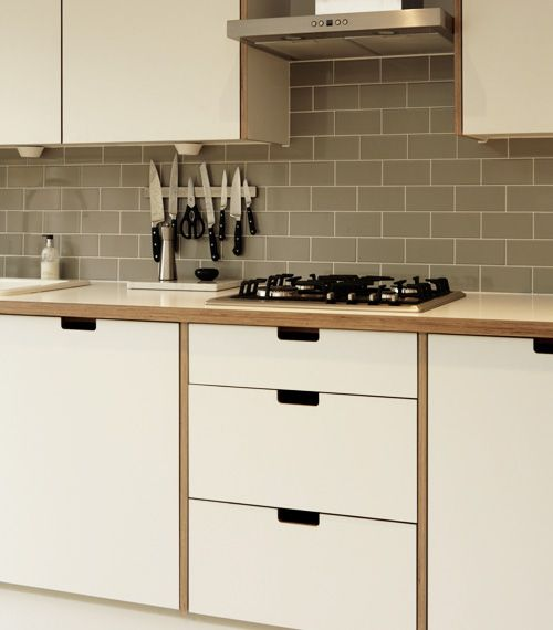 Charming Formica And Birch Ply Kitchen With Grab Handles
