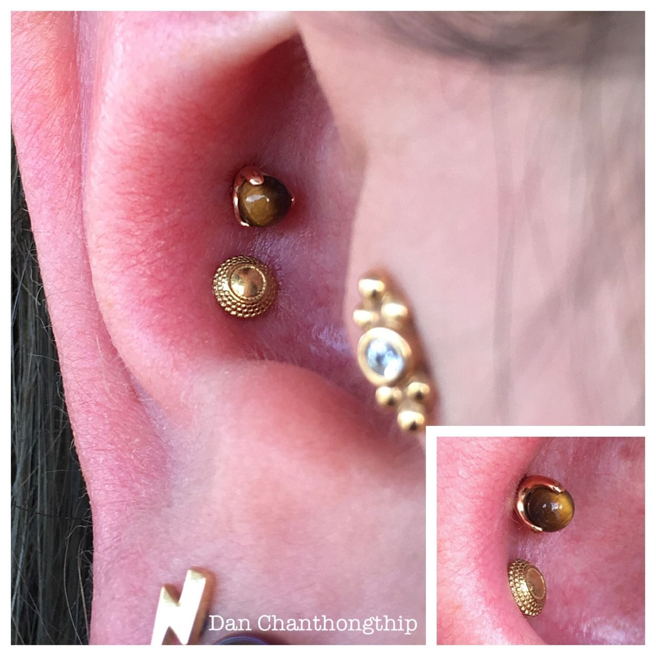 Pair Of Conch Piercings With 18k Yellow And Rose Gold Hera