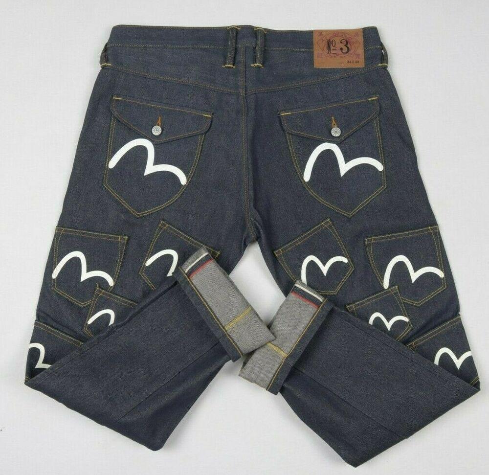 Evisu No3 Multi Pocket Diacock Mens Jeans W34 L30 Japanese Selvage Denim Rare Selvage Denim Mens Jeans Denim Inspiration [ 971 x 1000 Pixel ]