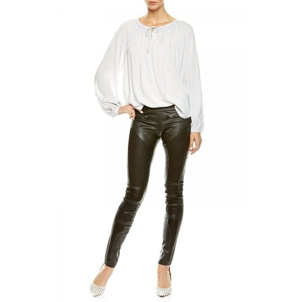 Hunkydory Embossed Skinny Leathers ($239) ❤ liked on Polyvore featuring pants, skinny trousers, stretch pants, white pants, white skinny pants and leather trousers