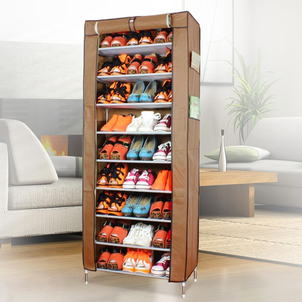 Tiered Shelves For Cabinets Dustproof 10 Tier Shoes Cabinet Storage Organizer Shoe Rack Stand