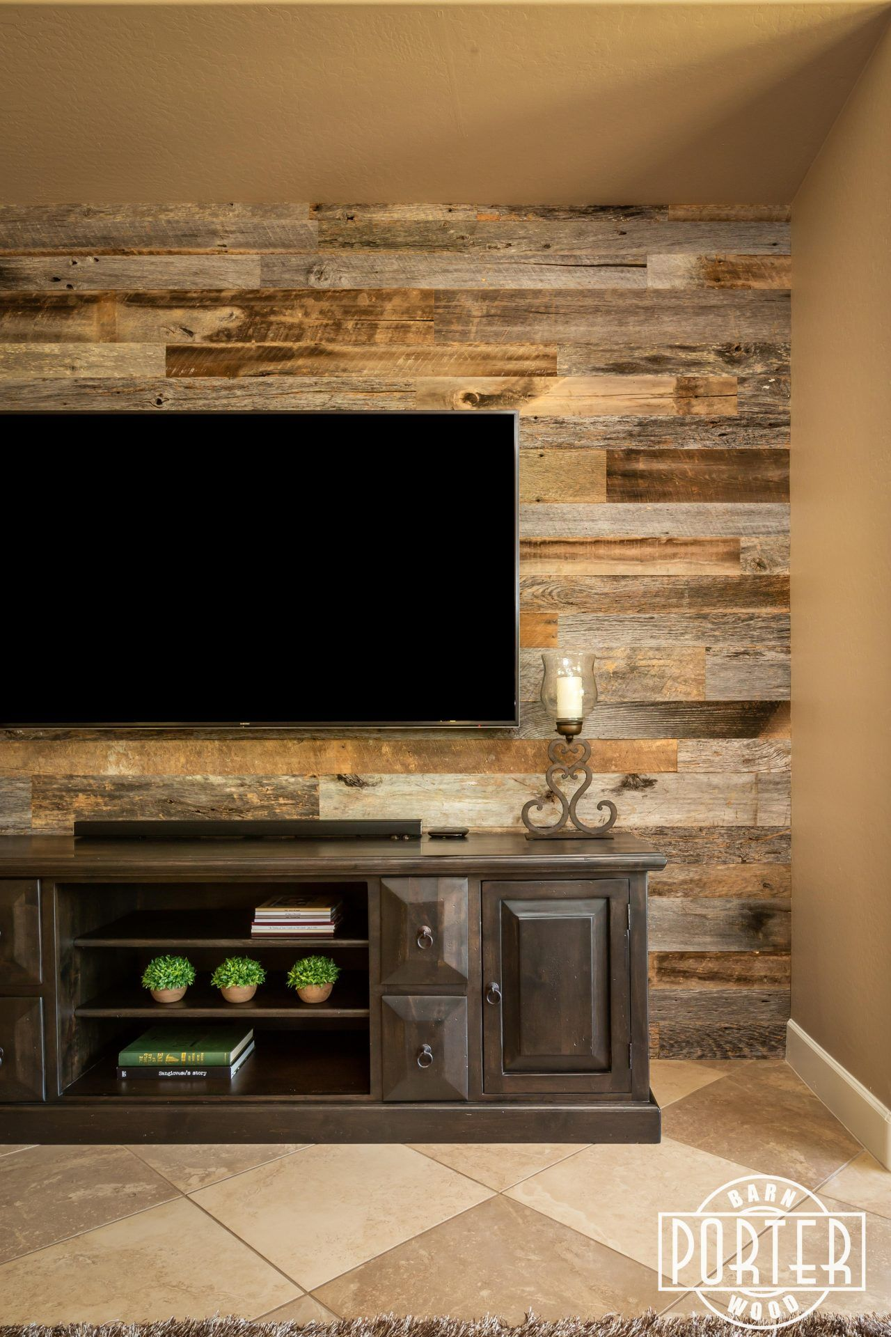 Reclaimed Barn Wood Entertainment Niche Wall