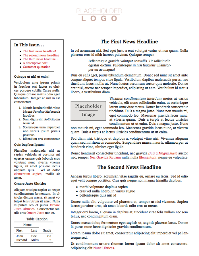 professional newsletter latex template