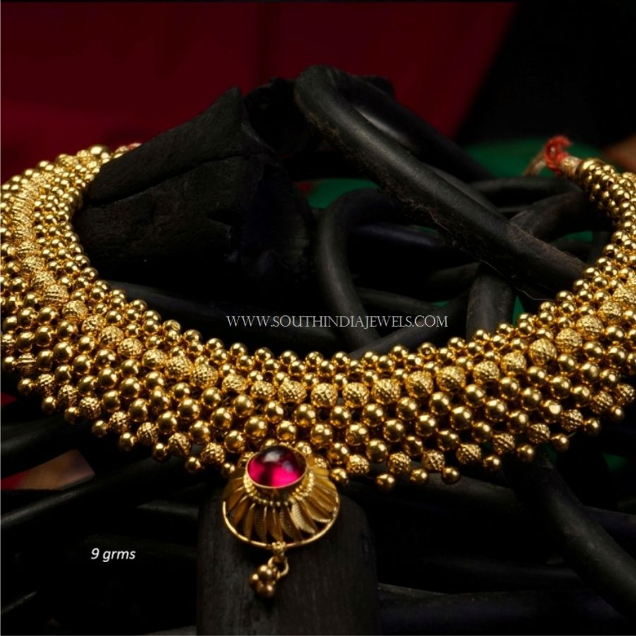 Gold Necklace Designs Below 10 Grams With Price South India Jewels In 2020 Gold Necklace Designs Necklace Designs Gold Necklace Indian Bridal Jewelry