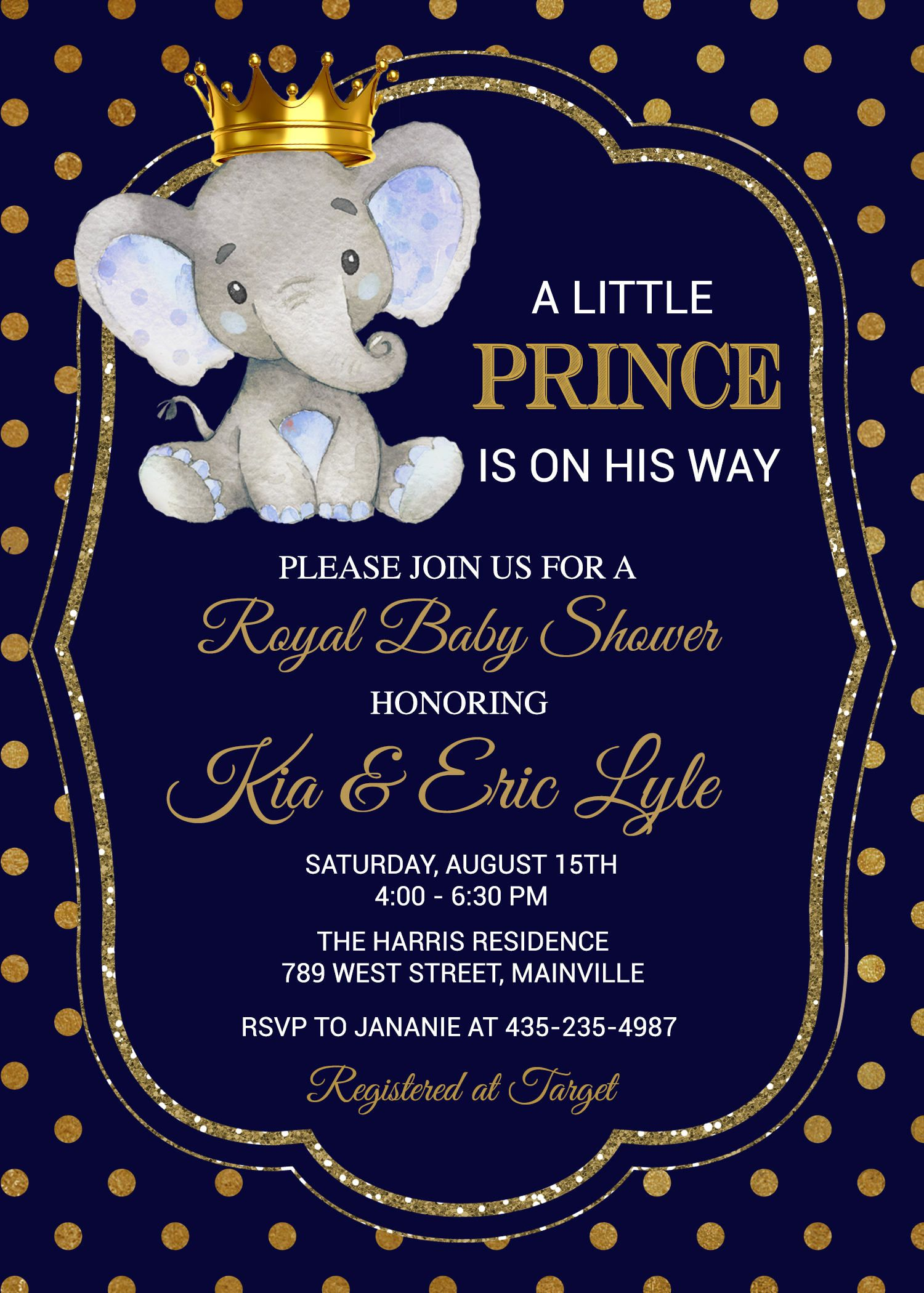 Elephant Baby Shower Boy Blue Prince Safari