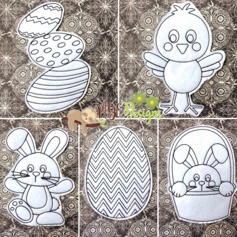Easter Coloring Doll Set Machine Embroidery Designs