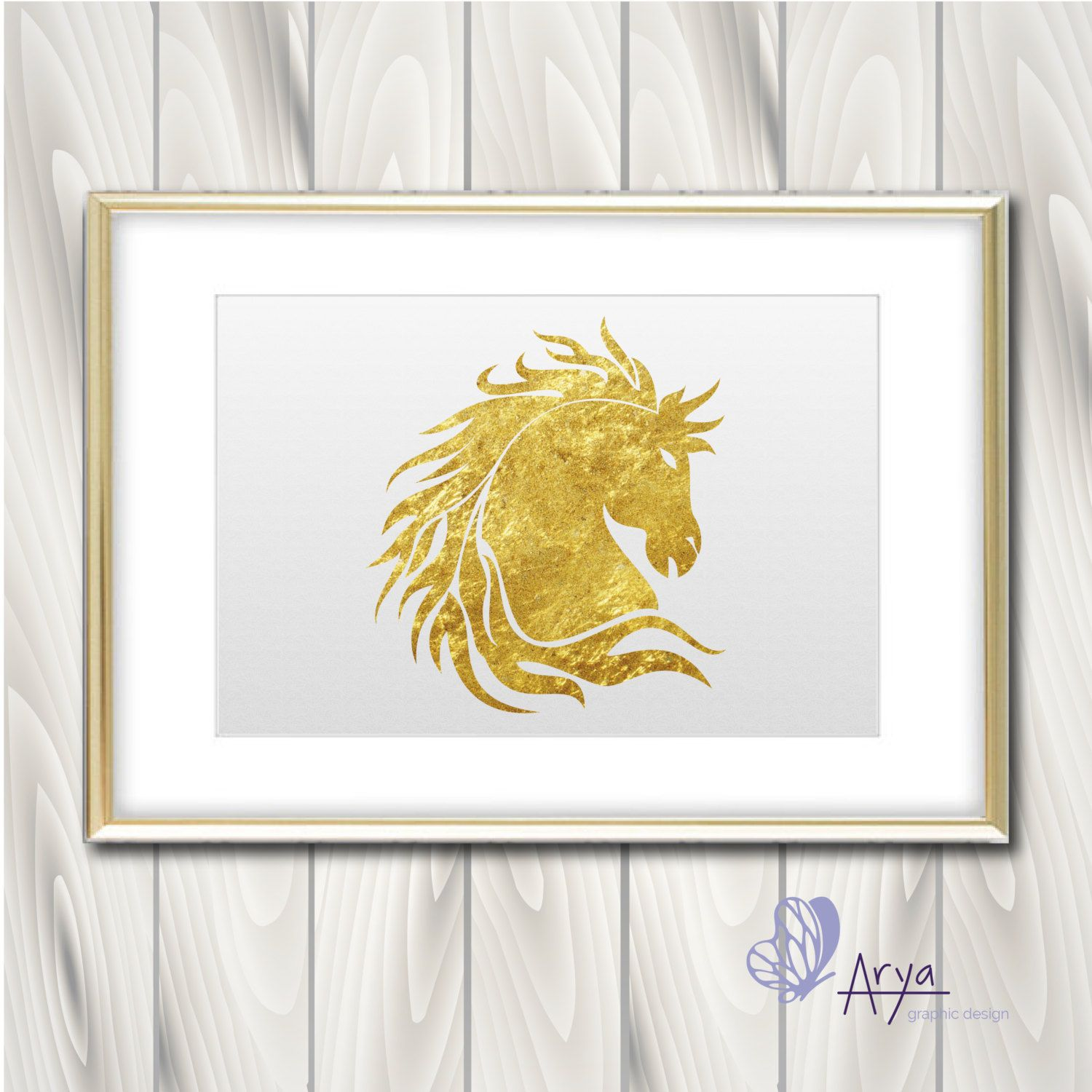 Gold Foil Horse, Wall decor Home and Office | NEGOZIO ETSY ...