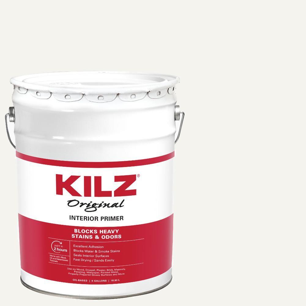 Kilz Original 5 Gal White Low Voc Oil Based Interior Primer Sealer And Stain Blocker 10030 Primer