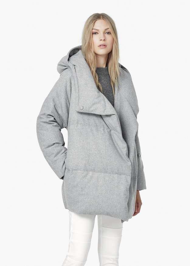 ce46f5af28bf7 Plumas y abrigos mujer otoño invierno 2015-2016  fotos de los modelos -  Plumas gris oversize Mango