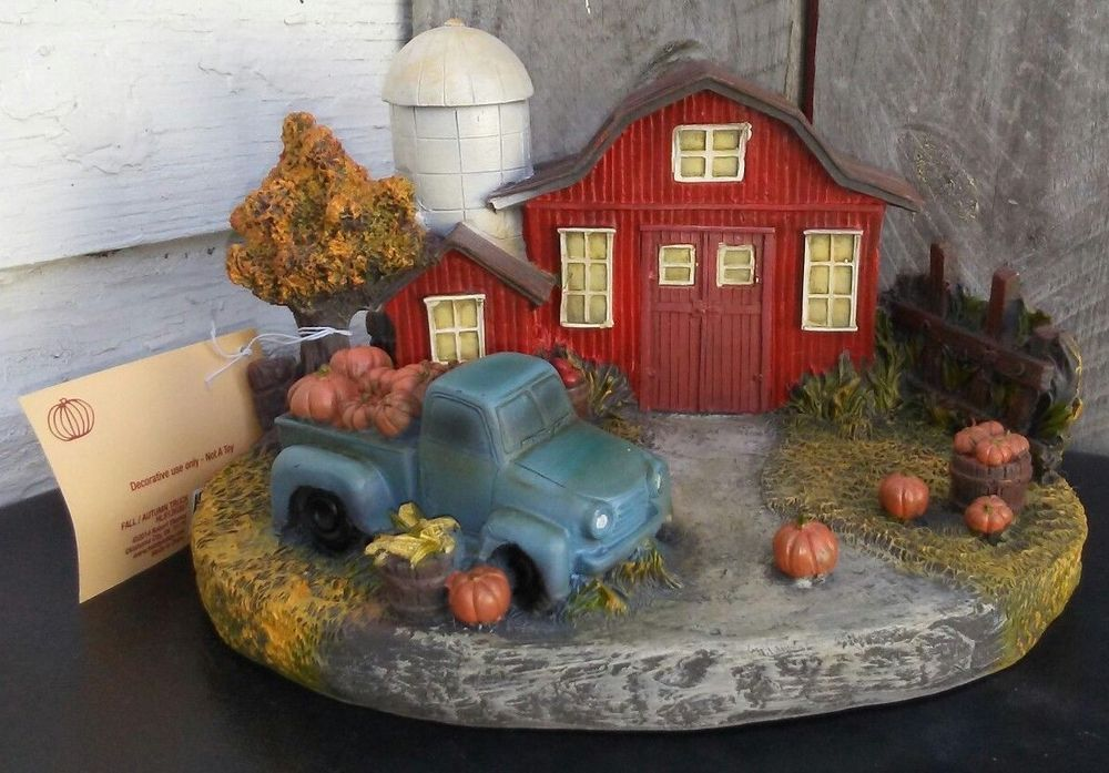 Fall Red Barn Silo Old Blue Truck Pumpkins Farmhouse