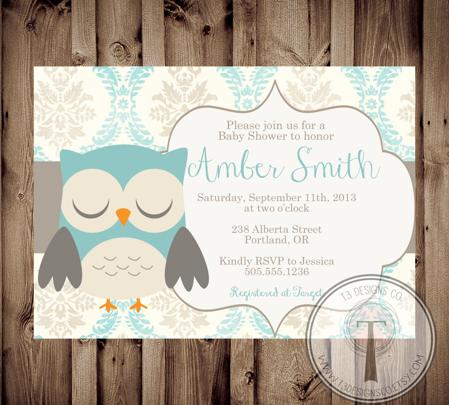Printable Baby Shower Invite Owl
