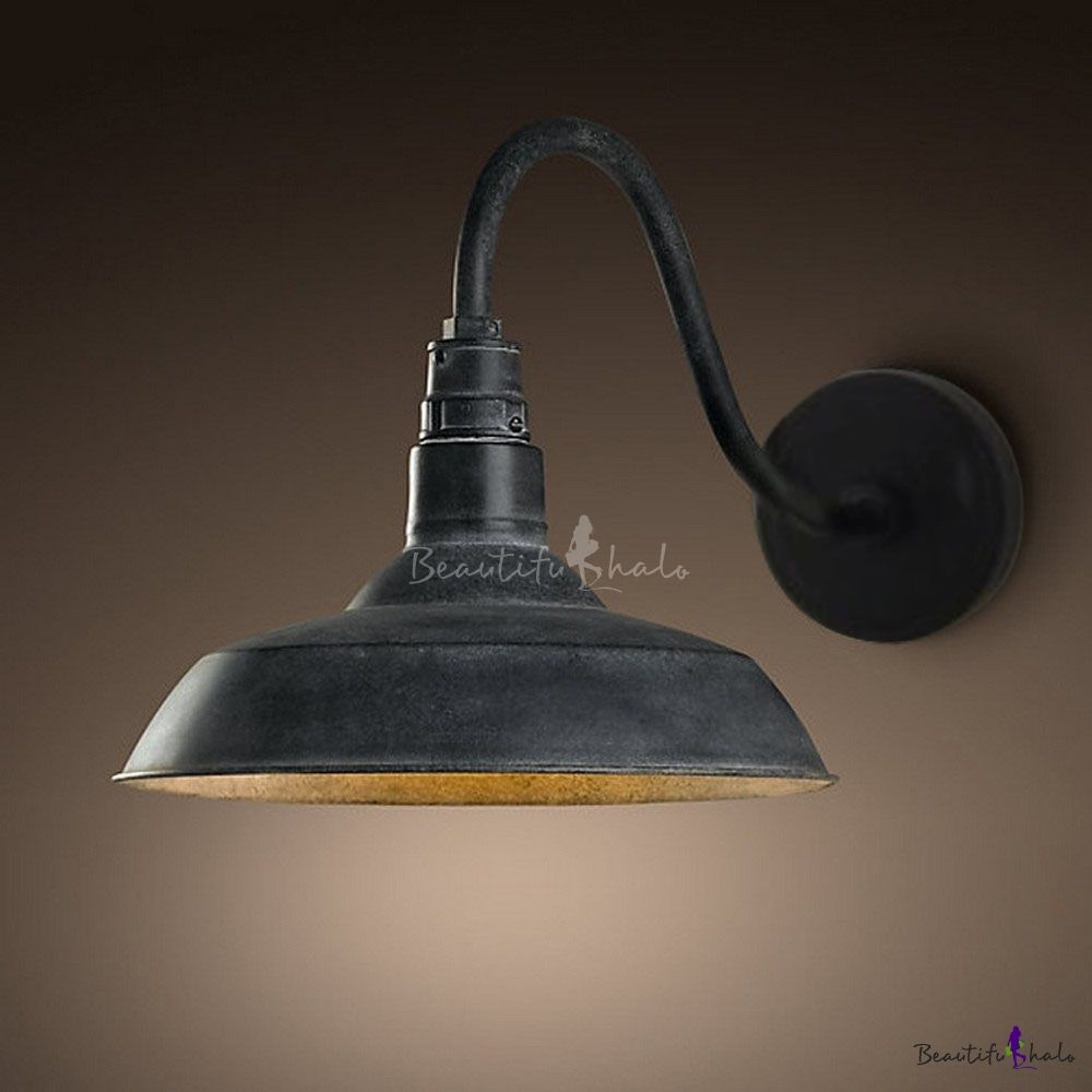 Ladiqi Industrial Wall Sconce Antique Edison Lamp Metal Shade Barn Farmhouse Light Fixture Grey In Lamps Sconces