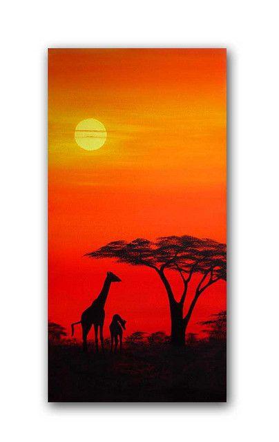 African Sunset Painting Giraffes At Dusk Tuval Sanati