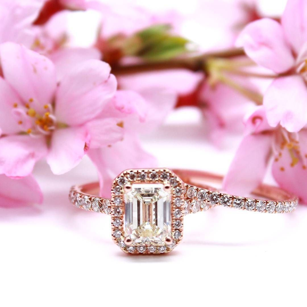 Emerald cut halo ring and a wedding band Rose gold wedding