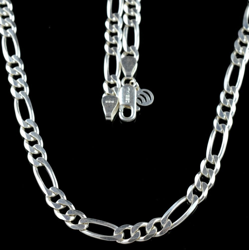 925  SOLID STERLING SILVER 7mm MENS FIGARO ITALIAN CHAIN 20 inches 34gm KJC001 #Unbranded #Chain
