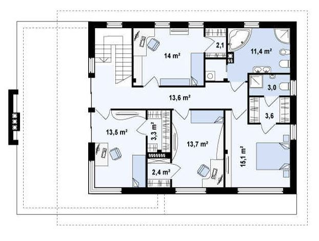 Plano de casa con oficina am nagement int rieur for Plano distribucion clinica dental