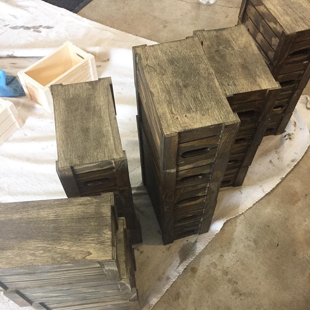Chelsea and I took advantage of the mild temperatures today and stained a ton of boxes. It's not the most glamorous part of the job but it's what makes our gifts unique and personal! Made with love  Mother's Day is right around the corner! Get your custom gift order in now!  #mothersday #mothersdaygift #laboroflove #painting #staining #creative #handmade