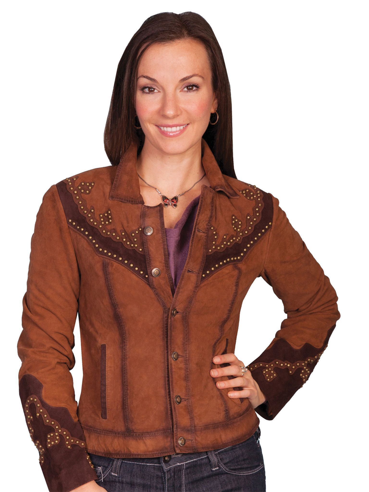 Scully Leather Womens TwoTone Western Suede Studded