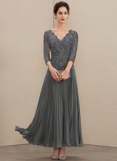 [€ 149.00] A-Linie V-Ausschnitt Knöchellang Chiffon Spitze Kleid für die Brautmutter mit Pailletten Gefaltet - JJ's House #groomdress