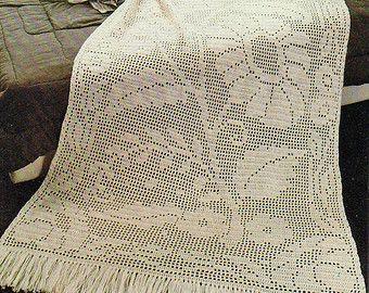 Afghan Crochet Pattern, Crochet Afghan Pattern, Filet Crochet Pattern, Bridal Shower Gift Idea, INSTANT Download Pattern PDF (1032)