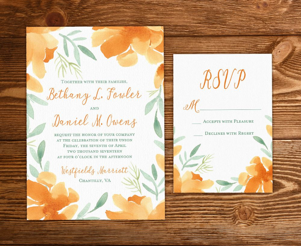 free templates for wedding response cards%0A Floral Invitation Watercolor Wedding  Rustic Wedding Invitation Set    Orange Magnolia   Watercolor Flowers Invitation Insert Response DEPOSIT