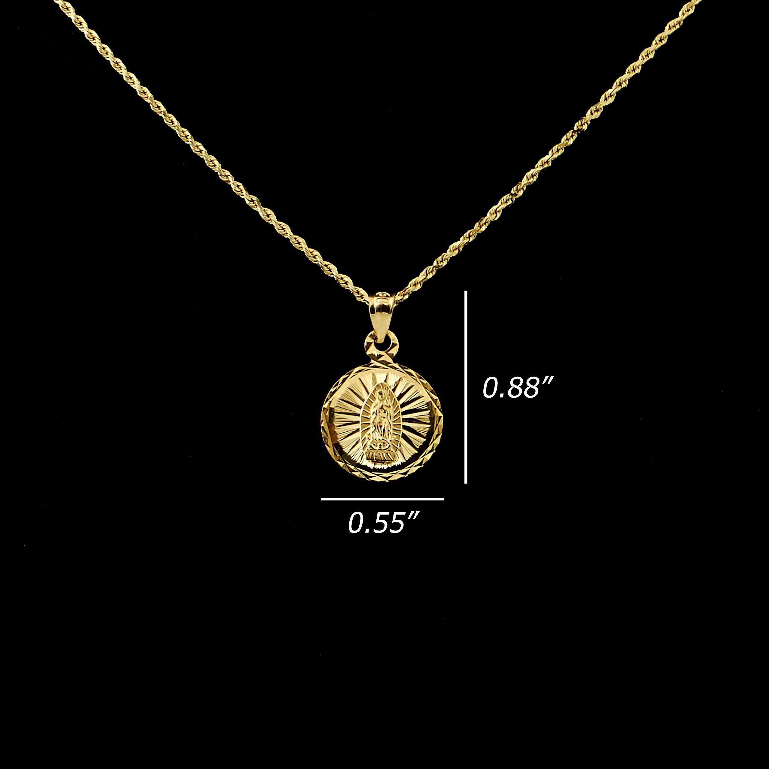 Lovebling k yellow gold diamond cut virgin mother mary medallion