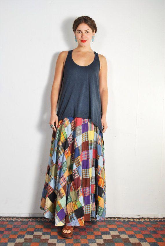 1970s Biba Patchwork Wrap Maxi Skirt // sz XS S by UXCVintage