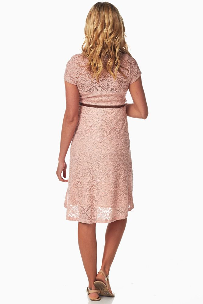 69119733c4 Pink Lace Belted Maternity Dress