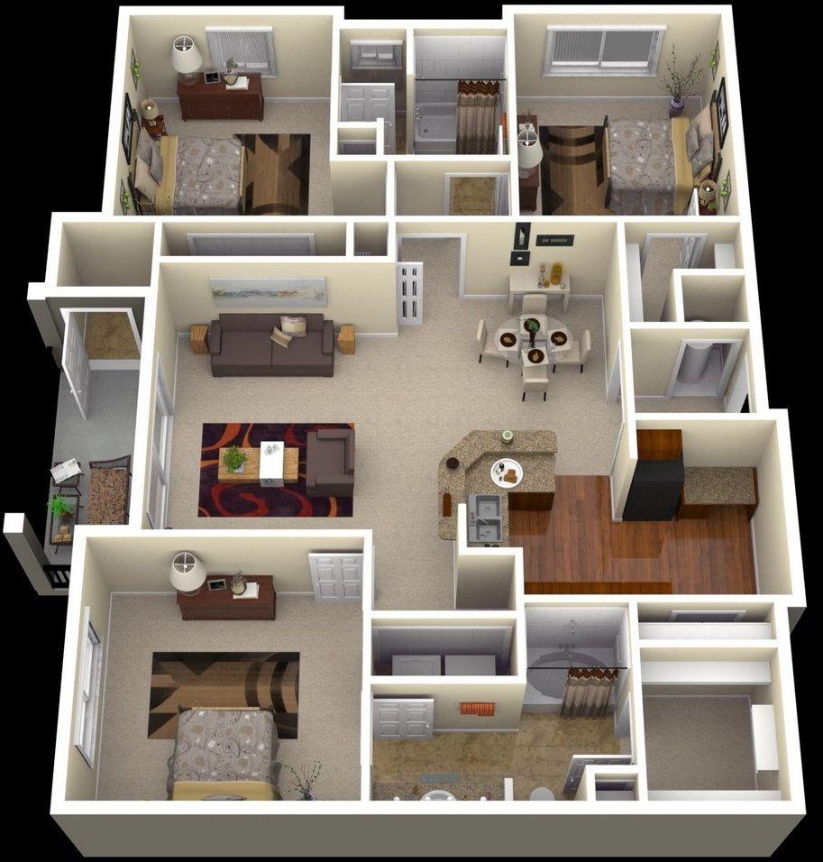 Appealing 3 Bedroom Apartments | Bedroom | Pinterest |