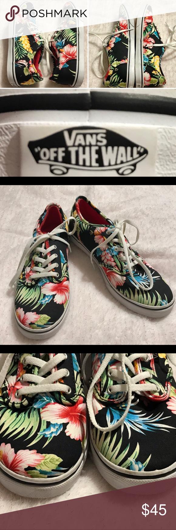 13820c8ac2 Vans Authentic Hawaiian Floral Skate Shoes Size 7 Vans Womens Authentic  Hawaiian Floral Canvas Skate Shoes