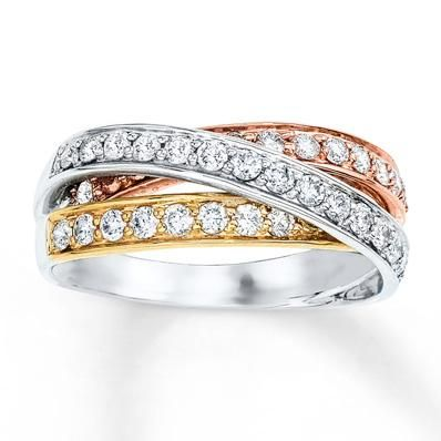 Bring in the New Year with a stylish tri-gold ring that is sure to impress.