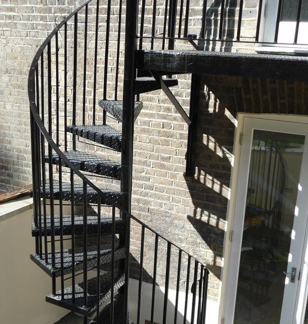 Best Steel Spiral Staircase Balcony Landing Fabrication London 400 x 300