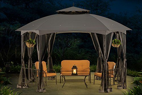 Sunjoy L Gz660pst Large Capri Gazebo With Netting 12 By Https Www Amazon Com Dp B01e1gth6q Ref C Gazebo Gazebo Netting Outdoor Furniture Decor