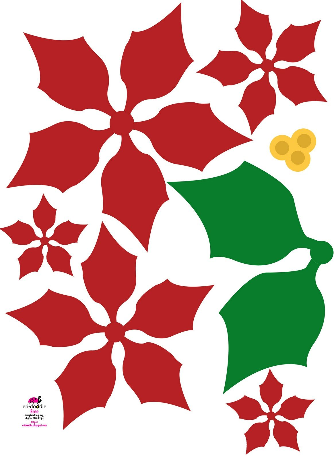 Paper Poinsettia Christmas Flower Free Download Template - Imagenes-de-flores-de-navidad