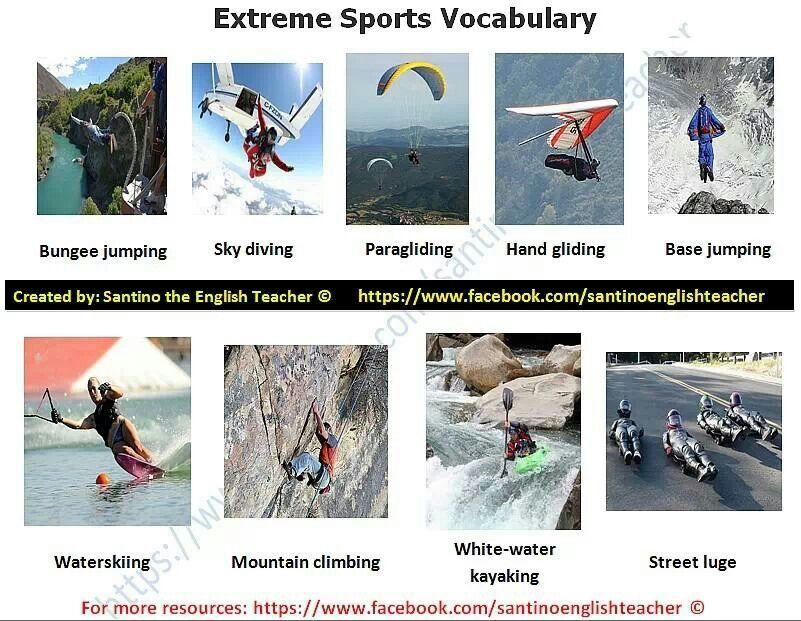 Extreme sports vocabulary Fun English teaching