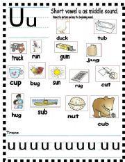 English Worksheets: ABC Short vowel u | Beginning Reading | Short