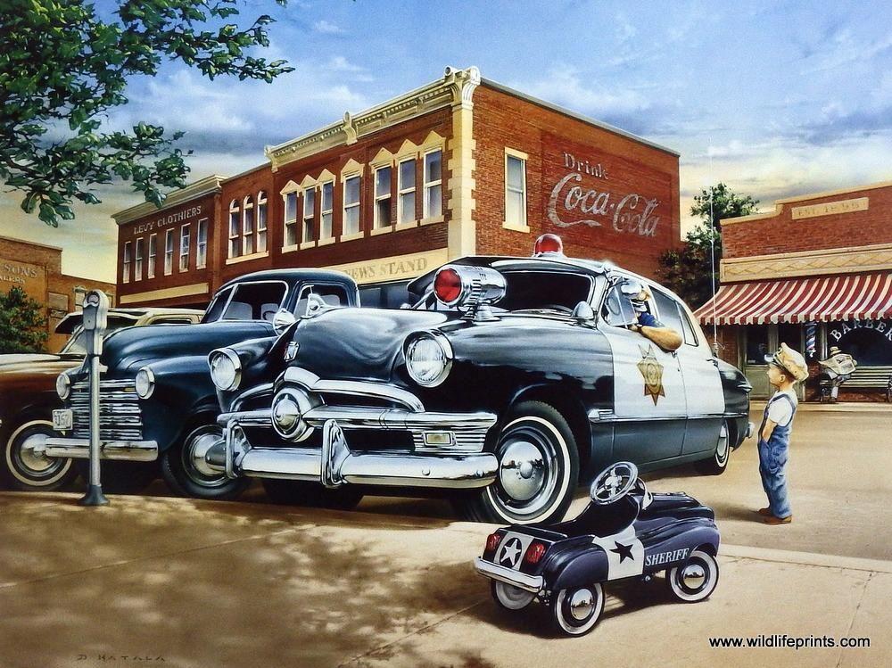 Artist Dan Hatala Unframed Classic Car Print New Sheriff in Town