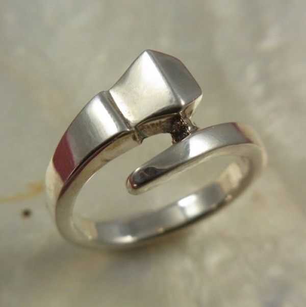 Sterling Silver Large Horseshoe Nail Ring - Sterling Silver - Jewellery