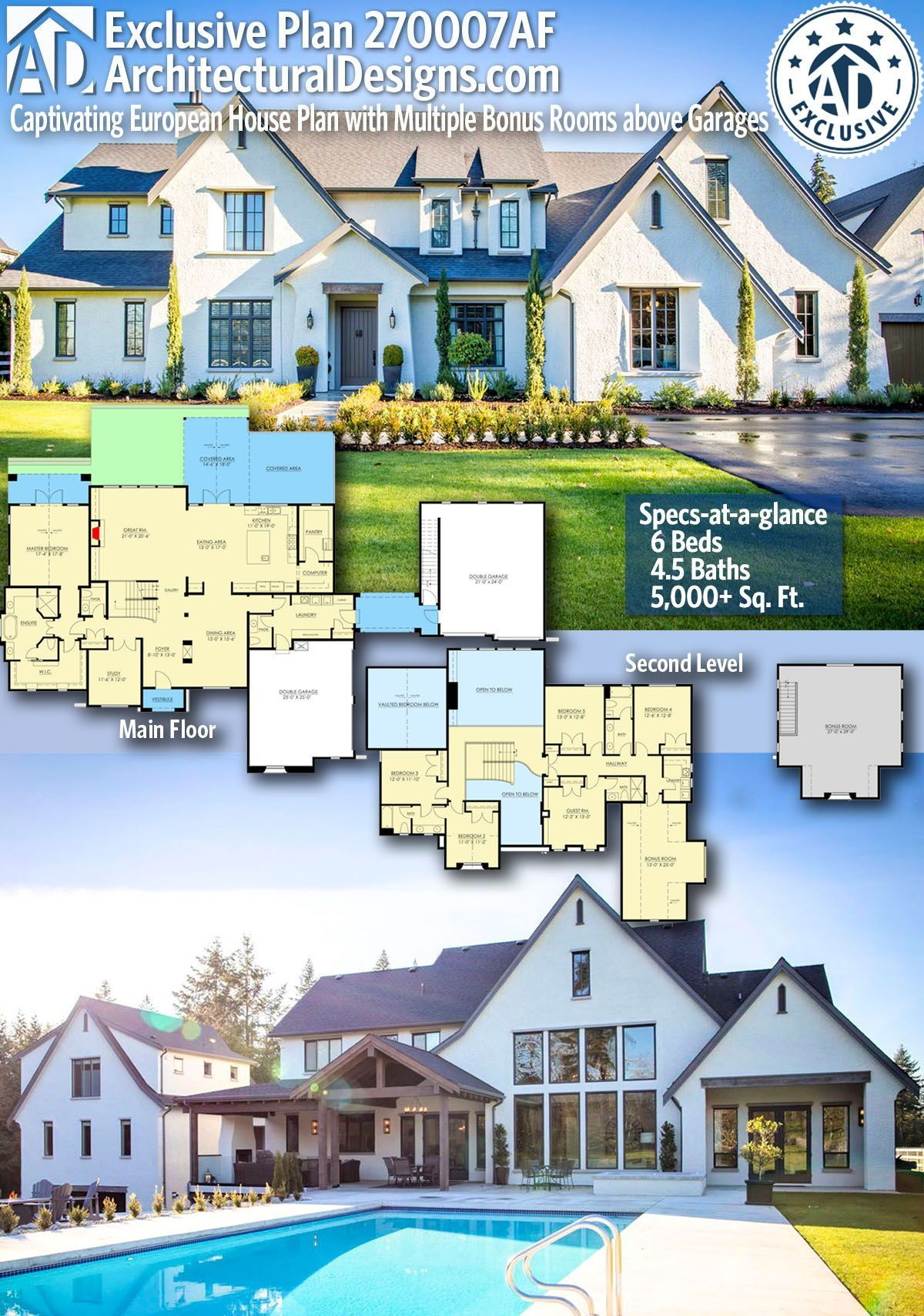 Architectural Designs Exclusive European Home Plan 270007af Gives You 6 Bedrooms 4 5 Baths And 5 00 Family House Plans House Plans Farmhouse Dream House Plans