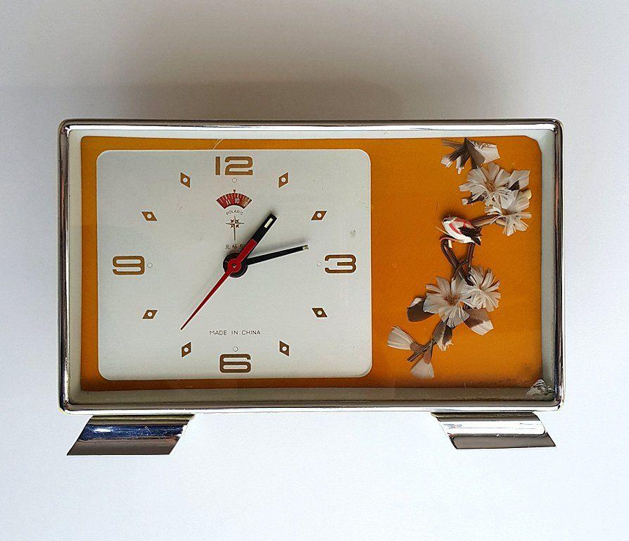 Vintage desk clock Wind up alarm clock Chinese Polaris ...