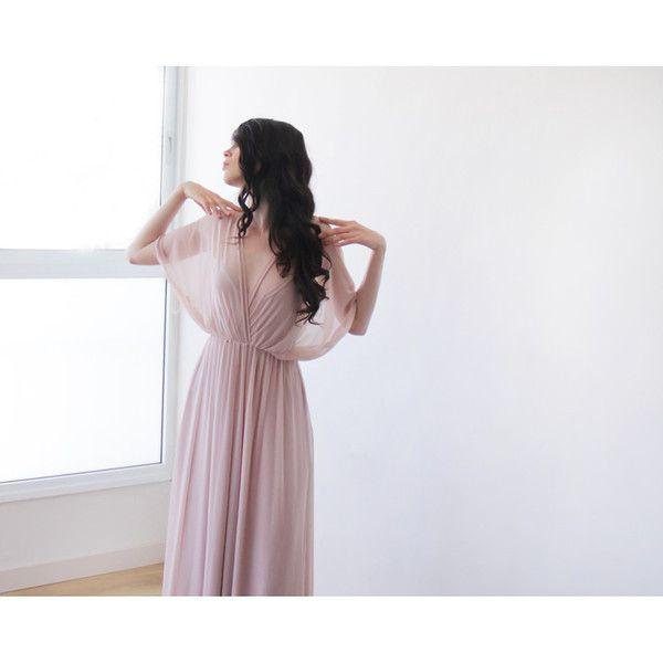 Fairy Chiffon dress, Pink blush maxi dress, Dress with slit , Bat sleeves