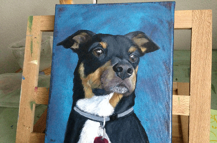 Henry the dog, painted by Mark Moad painted pet portraits