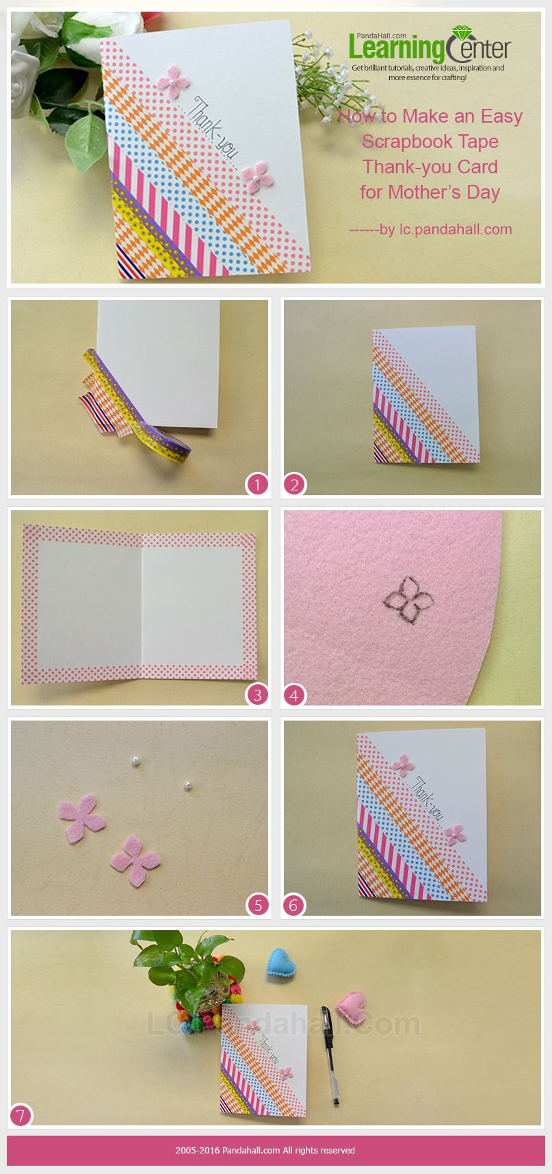 How to scrapbook easy - Tutorial On How To Make An Easy Scrapbook Tape Thank You Card For Mother S Day