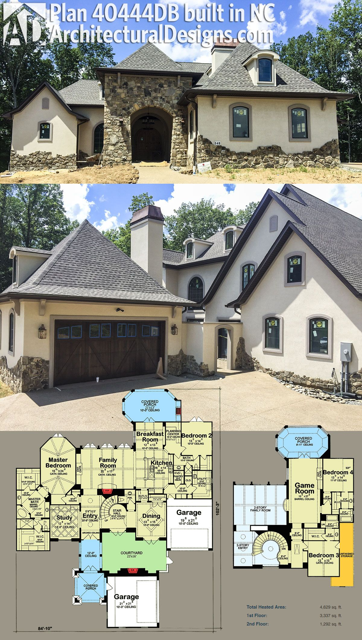 Our Client Built And Modified Architectural Designs House Plan 40444DB In  Tennessee With An Innovative Stucco