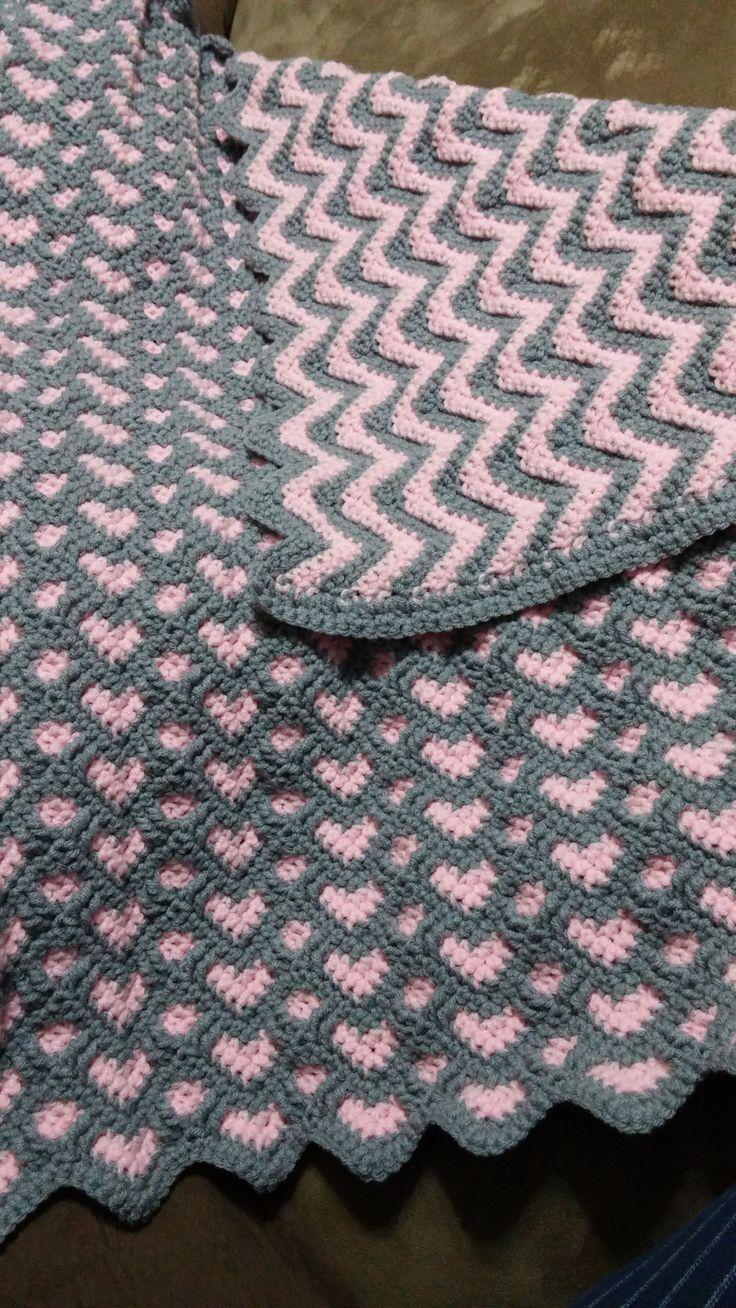 "crochetnfrog: ""Sweatheart ripple afghan I made for my niece - she ..."