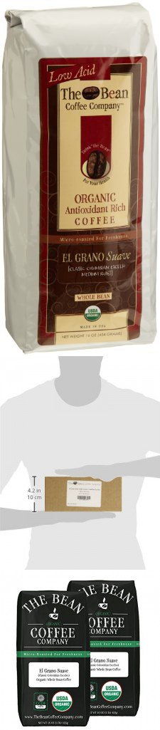 The Bean Coffee Company El Grano Suave Coffee (Classic Columbian Excelso), Organic Whole Bean, 16-Ounce Bags (Pack of 2)