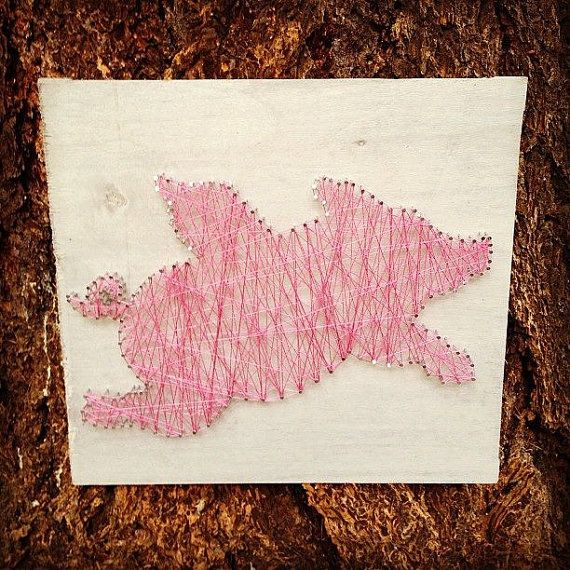 Pig's Can't... Custom string art A whimsical by TautlyTangled, $35.00