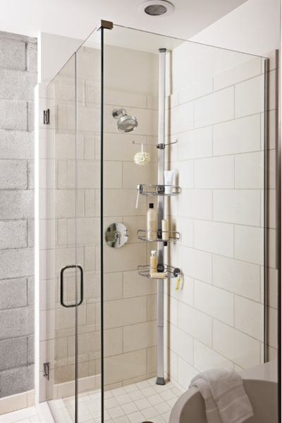 Attirant Small But Clean Shower With Glass Doors And Tension Rod Shower Caddy, Large  White Subway Tiles... 5 Steps To Make Your Small Shower Look Bigger Without  ...